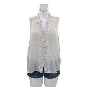 Ivory Eyelet Lace Sleeveless Blouse (L) Seer Chiffon Top by Forever 21